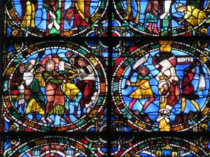Arrest in Gethsemane (left) & Flagellation, Chartres Cathedral, France