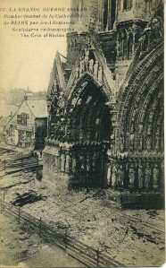 Reims Cathedral as it looked in 1918 at the end of WWI.