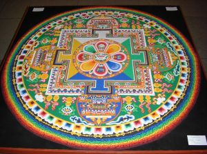 Chenrezig Sand Mandala for the Dalai Lama's Visit to the House of Commons, UK, 2008 (photo from Wikipedia Commons)