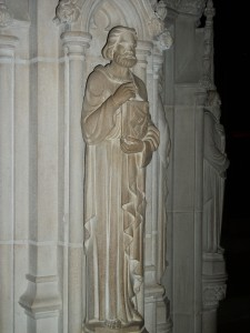 23. St. Luke holding book with bull on cover; Lectern sculpture; Washington, National Cathedral