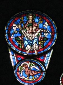 1. St. John's Eagle (below) and Abraham Rocking Souls in His Bosom, West Rose, Chartres Cathedral, France