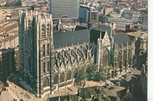 Sts. Michael & Gudula Cathedral, Brussels (postcard)