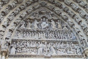 Last Judgment Tympanum Sculpture, Amiens Cathedral, France