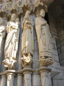 2. Peter (far right) with Simeon and John on Chartres Cathedral's North Porch. France