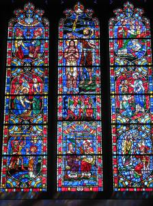 John the Baptist and Jesus (top center), Baptism Window, Washington National Cathedral