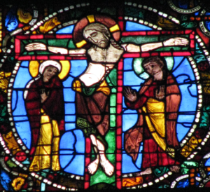 1. Crucifixion Scene with Mary (L) and John (R), Passion & Resurrection Lancet, Chartres Cathedral