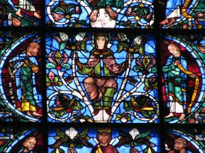 Mary with , Jesse Tree Window, Chartres Cathedral, France
