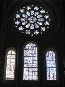 Last Judgement Rose and (L - R) the Passion, Life of Christ, and Jesse Tree Windows; Chartres Cathedral, France