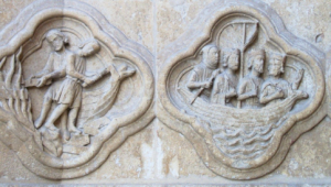 Herod Burns the Boats (L) and the Magi Escape (R), Amiens Cathedral, France