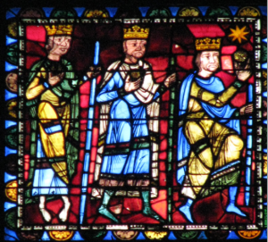The Magi Approach Bethlehem, Life of Christ Window, Chartres Cathedral