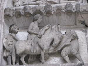 St. Martin, the Beggar, and the Cloak, Chartres Cathedral, France