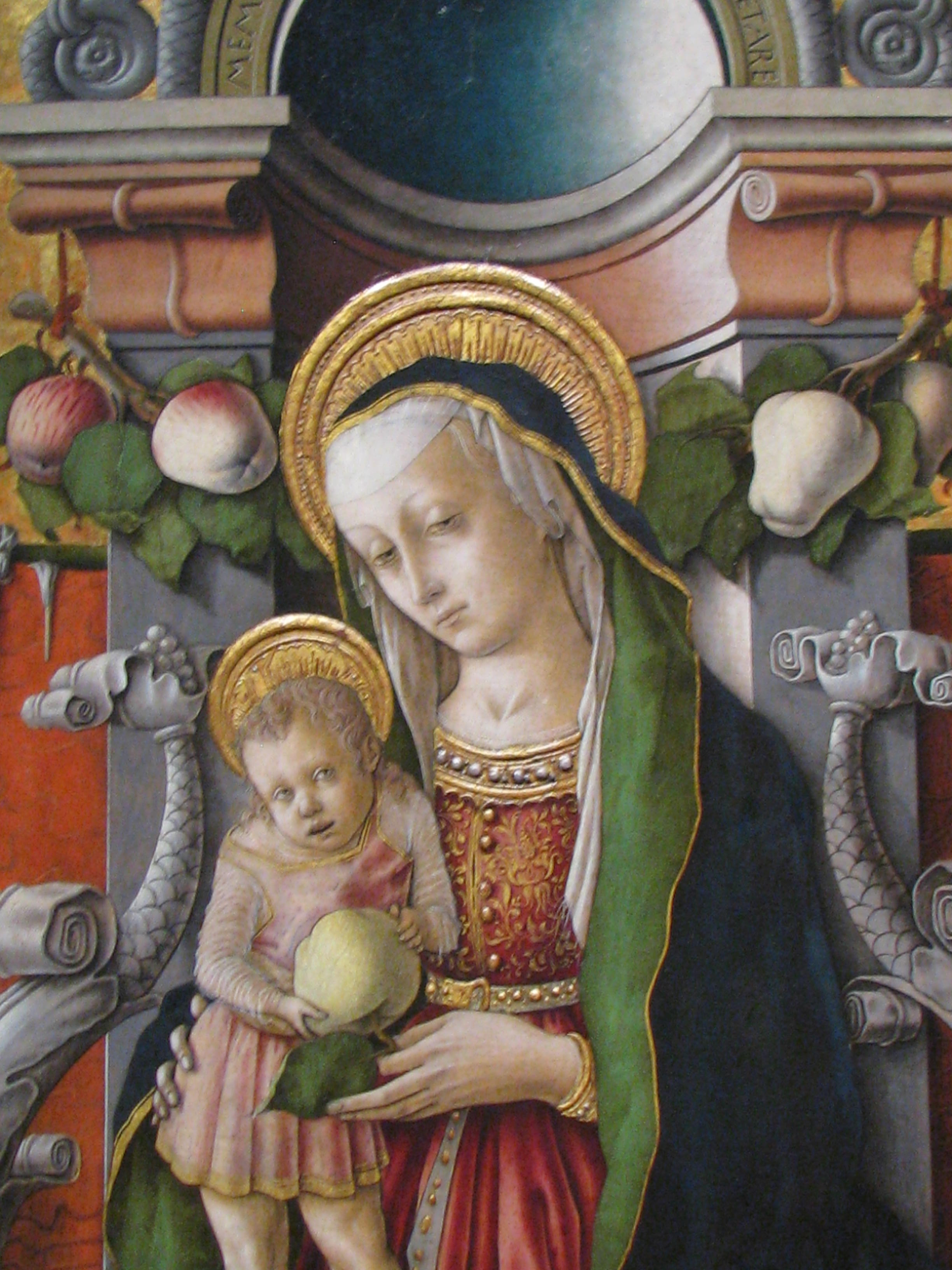 Sacred symbols apples pears mandorlas in our midst madonna child crivelli 1490 national gallery of art washington biocorpaavc Image collections