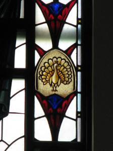 Peacock in Social Work Window, Loyola University Chapel, Chicago